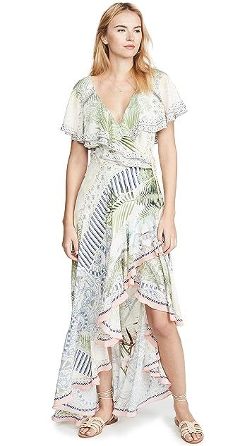 Camilla 褶边衣袖长连衣裙