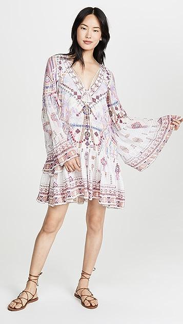 Camilla A 字形裁剪裥褶拼接连衣裙