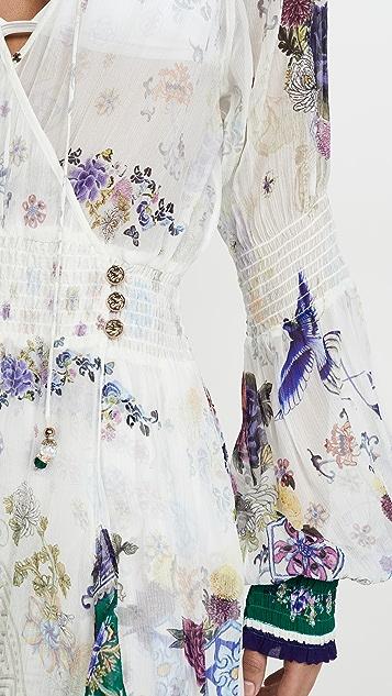 Camilla 宽松束口袖裹身连衣裙