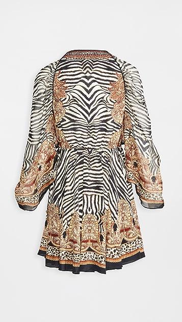 Camilla 垂褶衣袖短连衣裙