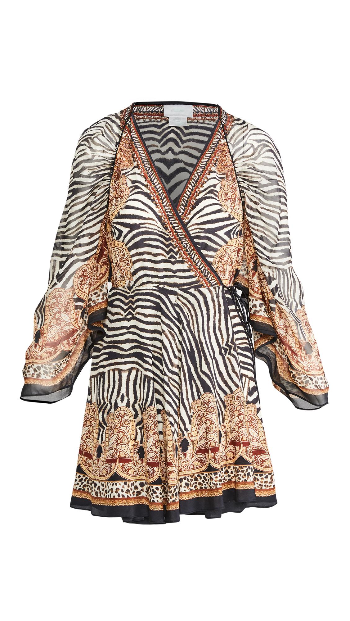 Camilla Short Dress with Draped Sleeves