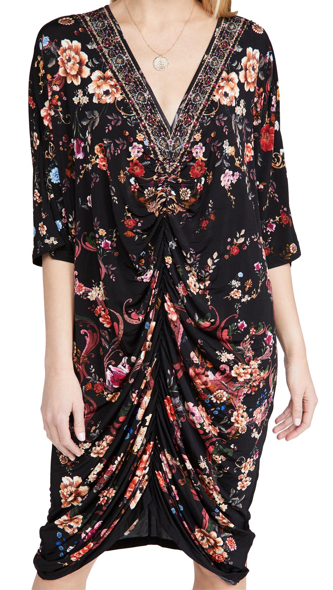 Camilla Short Draped Jersey Dress With Split Sleeves