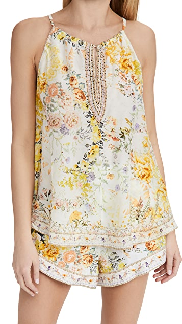 Camilla Flared Cami with Neck Tie