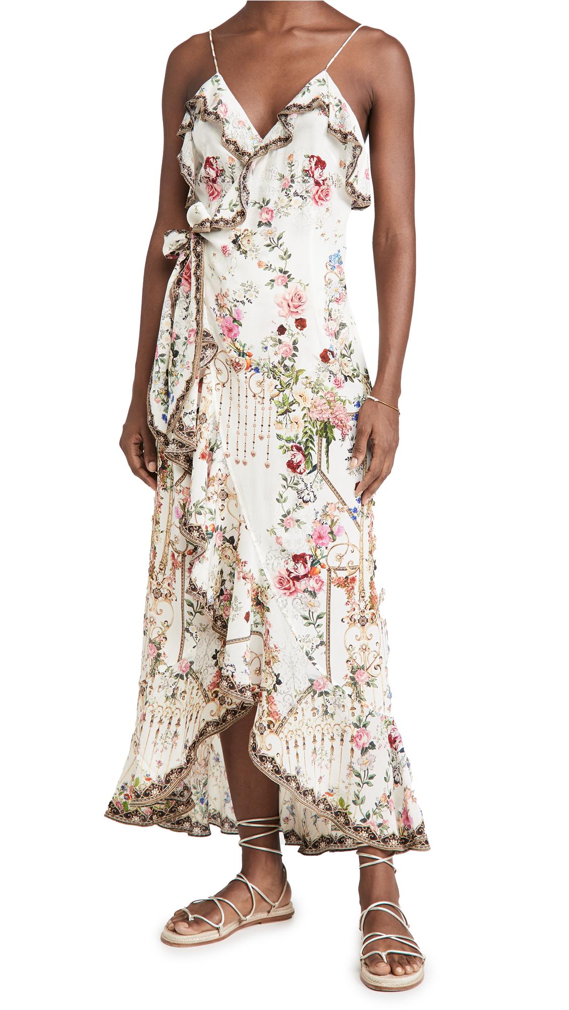 Camilla Long Wrap Dress with Frill