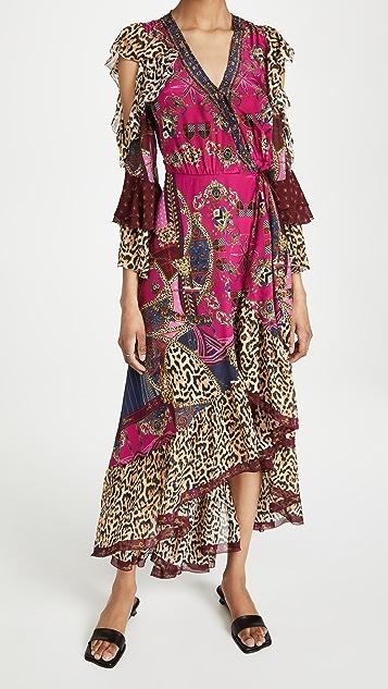 Camilla 荷叶袖裹身连衣裙