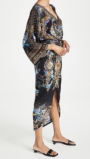 Camilla 开衩正面扭褶长裙