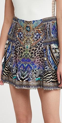 Camilla - 系扣褶边半身裙