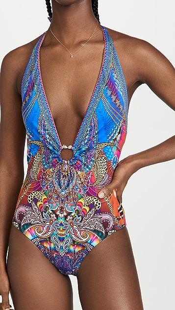 Camilla 环圈细节低 V 领连体泳衣