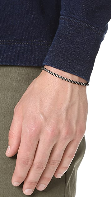 Caputo & Co. Silver Chain Rope and Waxed Cord Bracelet