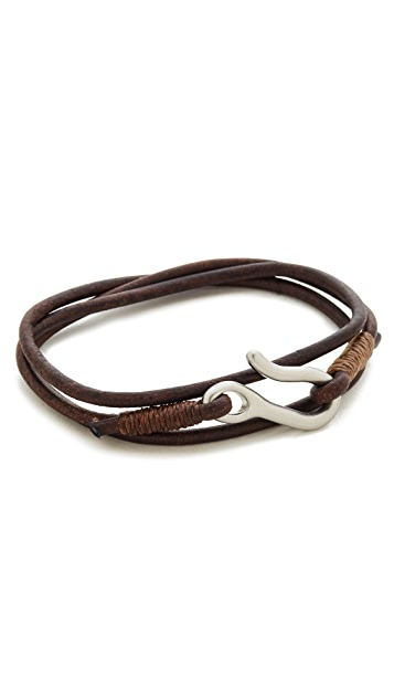 Caputo & Co. Leather Triple Wrap Bracelet