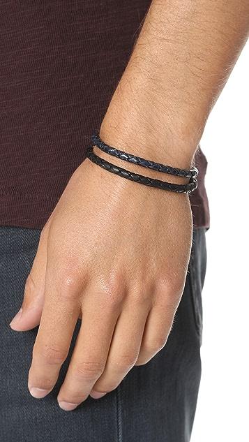 Caputo & Co. Leather Braided Colorblock Bracelet