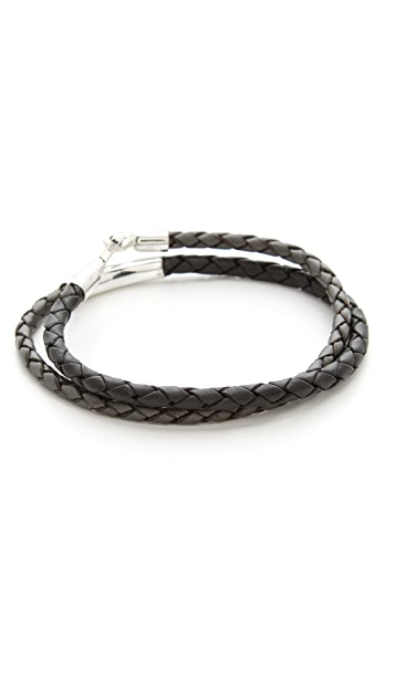 Caputo & Co. Leather Braided Colorblock Bracelet