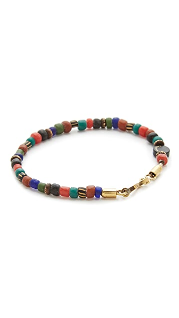Caputo & Co. Glass & Brass Bead Bracelet