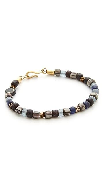 Caputo & Co. Glass & Brass Bead Bracelet