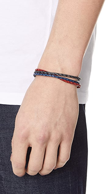 Caputo & Co. 3 in 1 Braided Leather Wrap Bracelet