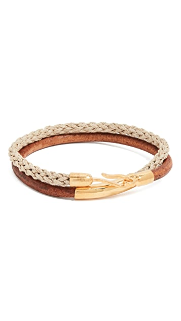 Caputo & Co. Leather Cord and Jute Bracelet
