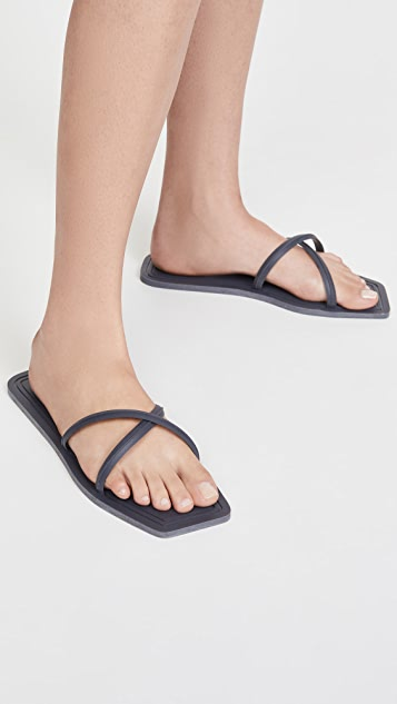 Carlotha Ray Crisscross Square Toe Slides