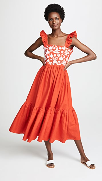 Carolina K Kuna Embroidered Dress - Red/White Leaves