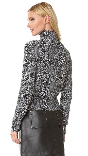 Carven Faux Leather Knit Jacket