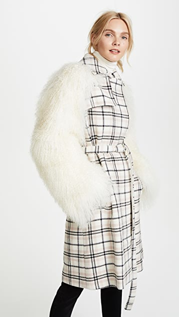 Carven Coat with Shearling Sleeves