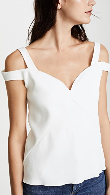 Carven V Neck Cold Shoulder Top