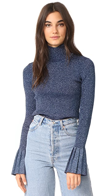 Carven Metallic Sweater With Pleats