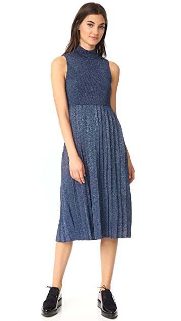 Carven Pleated Metallic Sleeveless Dress