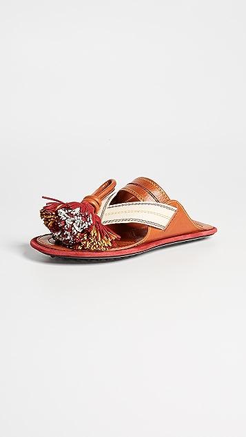 Carven Tassel Sandals - Tan