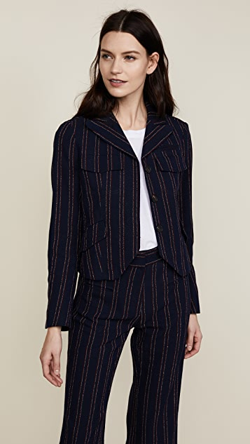 fitted pinstripe jacket