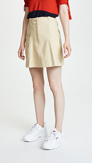 cotton gabardine miniskirt with pocket