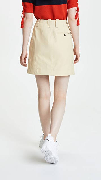 Carven Cotton Gabardine Miniskirt with Pocket