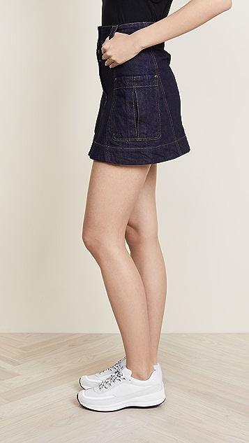 Carven Denim Miniskirt with Pockets