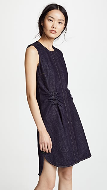 Carven Flared Denim Dress with Gathered Waist
