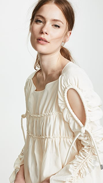 Carven Smocked Ruched Blouse