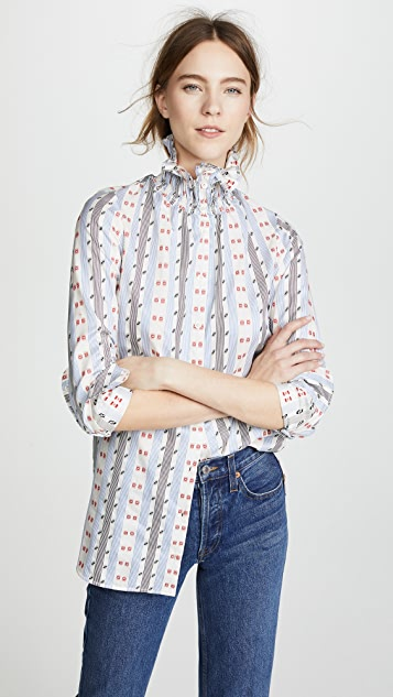 Carven Stripes & Triangles Long Sleeve Shirt ...