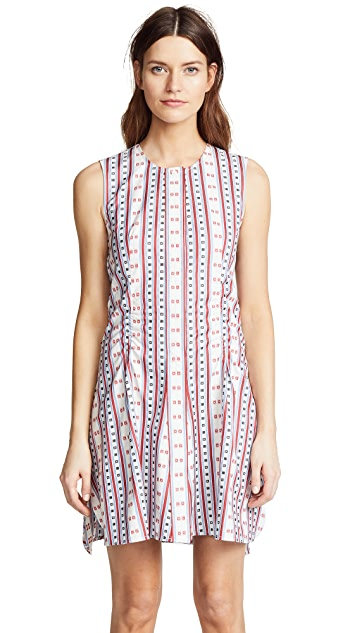 Carven Stripes & Squares Jacquard Flared Dress