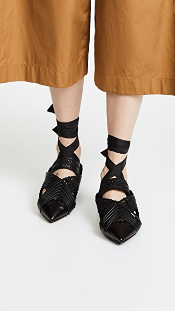 Carven Berri Lace Up Pointed Mules