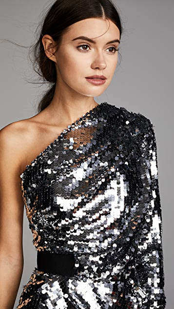Carven Sequin One Shoulder Top