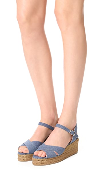 Castaner Washed Canvas Crisscross Wedge Espadrilles