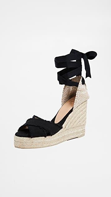 Castaner Bluma Crisscross Wedges - Black