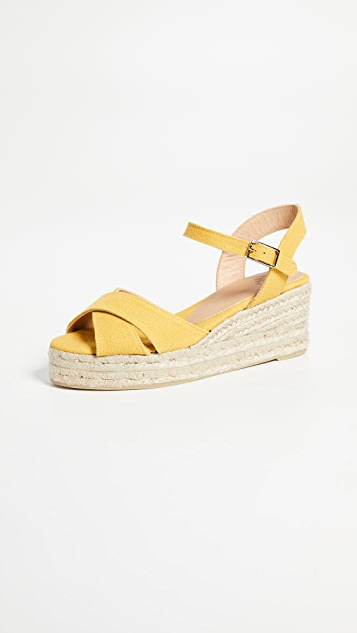 Castaner Blaudell Crisscross Low Wedges