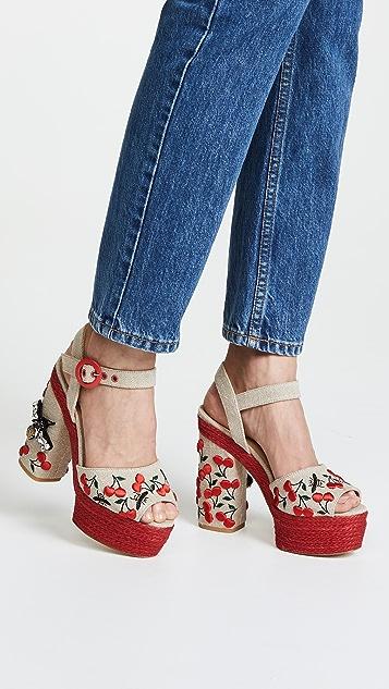 Castaner Aloe Platform Cherry Sandals