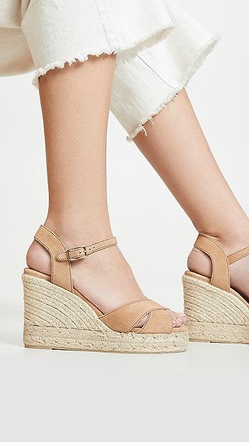 Castaner Blaudell 交叉饰带坡跟编织底绑带凉鞋