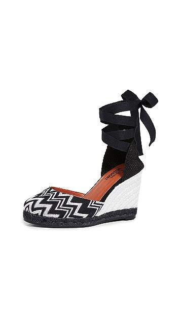 Castaner x Missoni Carina 编织底坡跟便鞋