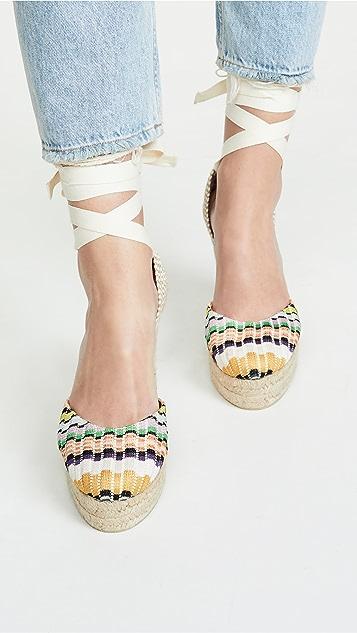 Castaner x Missoni Carina 编织底坡跟绑带凉鞋