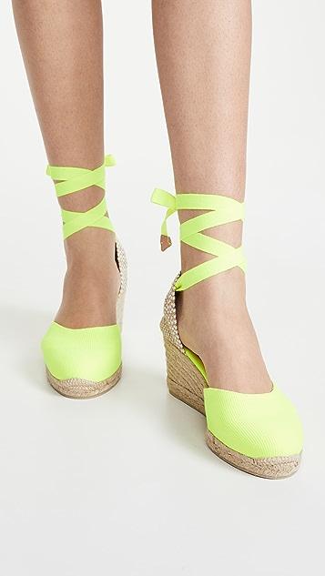 Castaner Carina 编织底坡跟绑带凉鞋