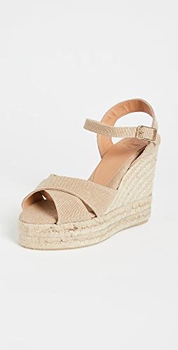 Castaner - Blaudell 编织底坡跟绑带凉鞋