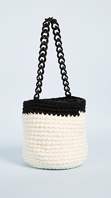 Caterina Bertini Wool Knit Bucket Bag