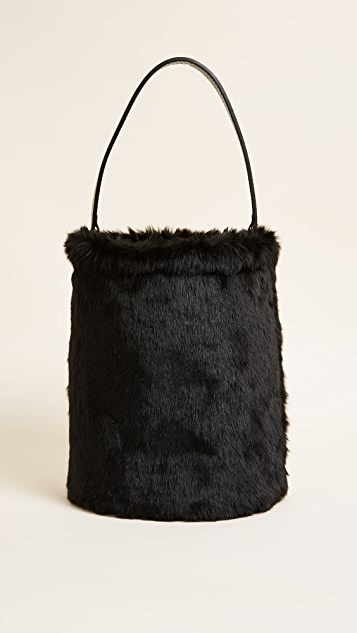 Caterina Bertini Faux Fur Bucket Bag - Black