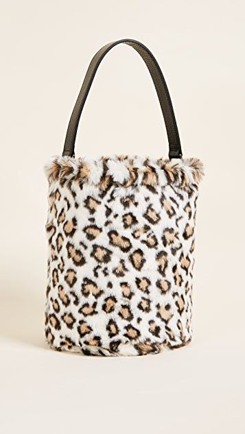Caterina Bertini Faux Fur Bucket Bag